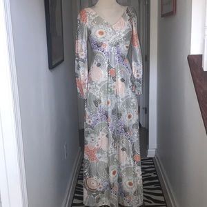 Vintage Silver and Floral Maxi Dress Sz 2 😘